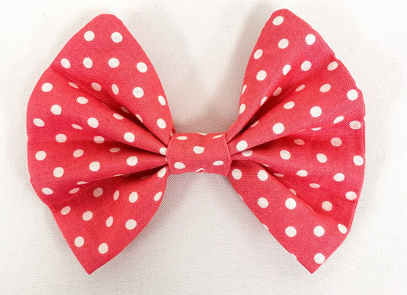 Cotton Hair Bow (Pink Dots)