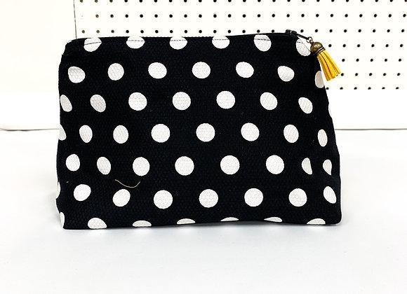 Large Upcycled Zipper Bag (polka)