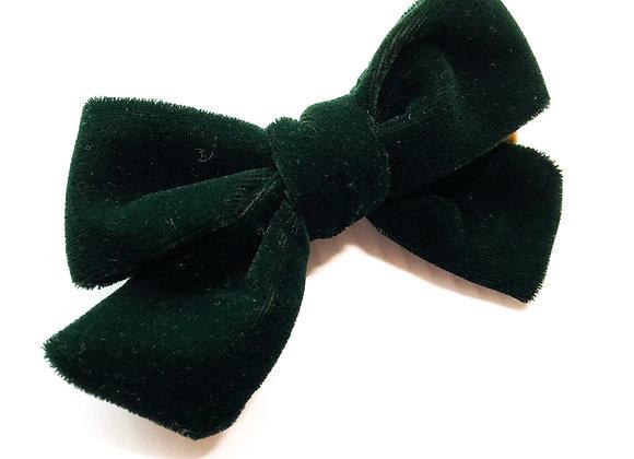 Handtied Hair Bow (Green Velvet)