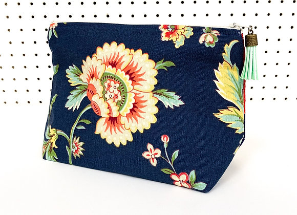 Large Upcycled Zipper Bag (burlap flowers)