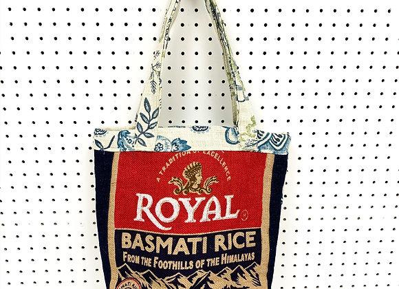 Upcycled Burlap Tote Bag (Blue Foilage)