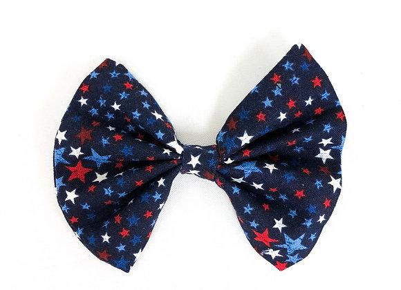 Cotton Hair Bow (Patriotic Stars)