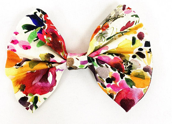 Cotton Hair Bow (Abstract Floral)