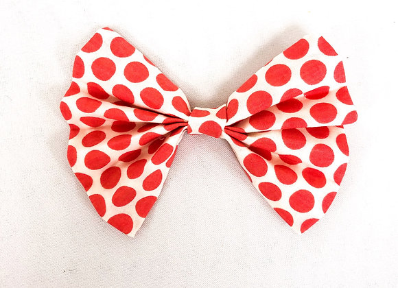 Cotton Hair Bow (Coral Dots)