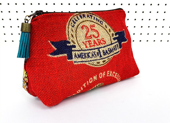 Upcycled Zipper Bag - western red