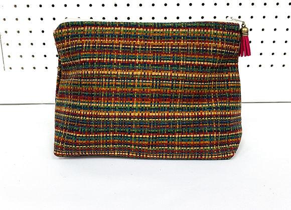 Large Upcycled Zipper Bag (red tassel)