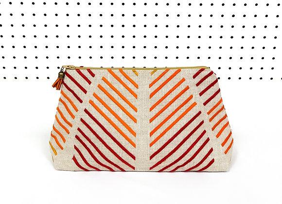 Large Upcycled Zipper Bag (Autumn Stripe)
