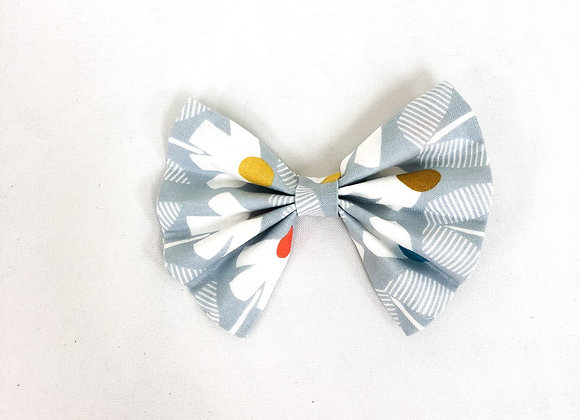 Cotton Hair Bow (Blue grey Flowers)