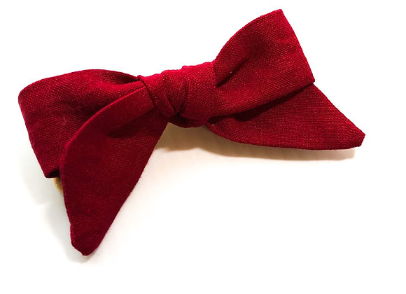Handtied Skinny Hair Bow (Cranberry)