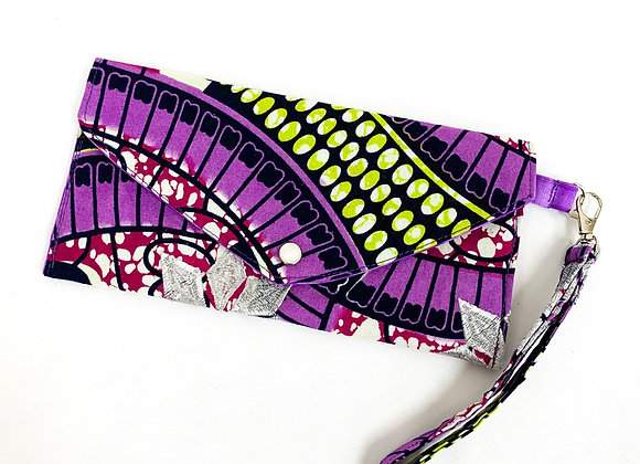Snap Clutch (purple batik)