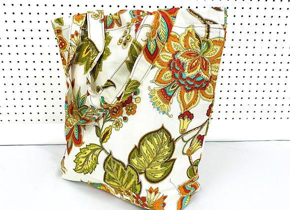 XL Village Bag (cream flowers)