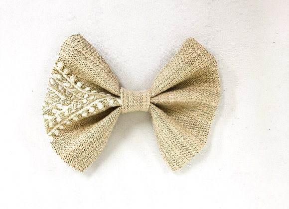 Cotton Hair Bow (Neutral Embroidery)