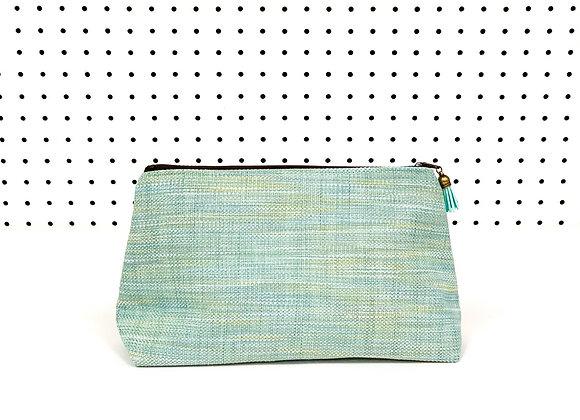 Large Upcycled Zipper Bag (Sea Glass)