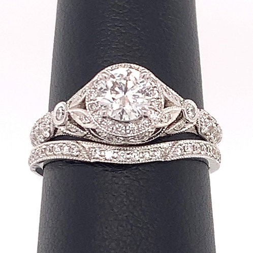 14K White Gold & Diamond Edwardian-Inspired Wedding Band
