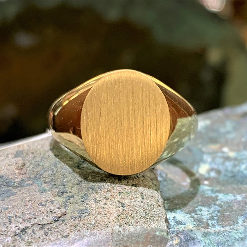 Large 14K Yellow Gold Oval Signet Ring