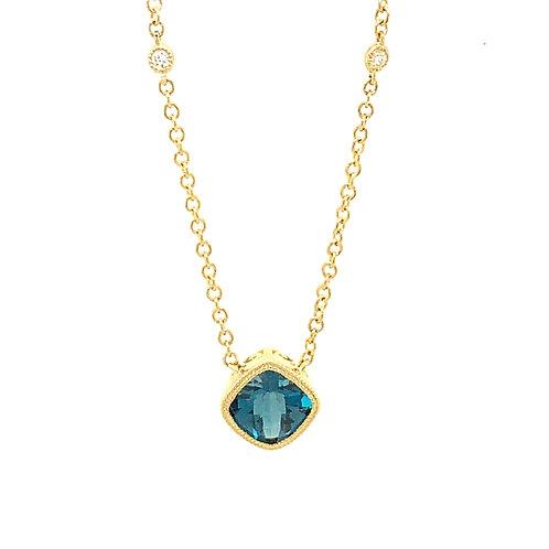 London Blue Topaz, Diamond & 14K Yellow Gold Pendant Necklace