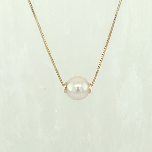Floating Akoya Cultured Pearl & 14K Yellow Gold Necklace