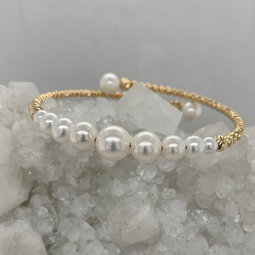 Graduated Pearl and 14K Yellow Gold Cuff Bracelet