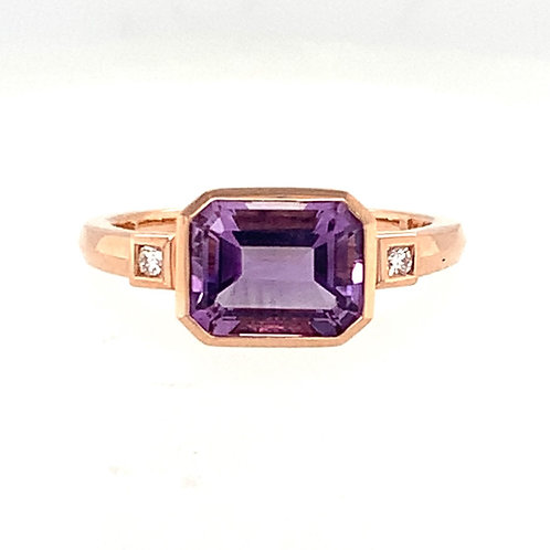 Amethyst, Diamond & 14K Rose Gold Ring