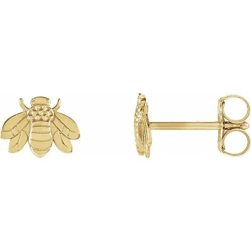 14kt Gold Bee Earrings