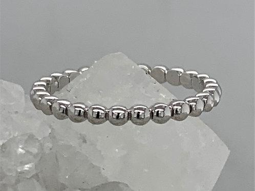18K White Gold Bead Ring - 2mm
