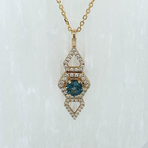Montana Sapphire & Diamond Pendant