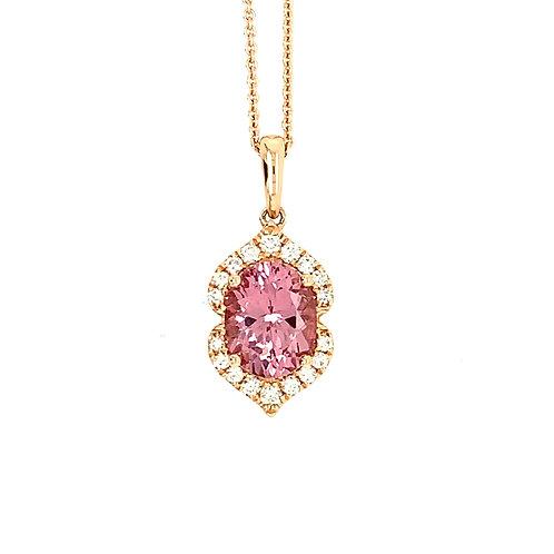 Lotus Garnet, Diamond & 14K Rose Gold Pendant