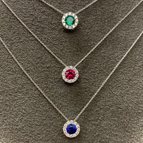 Ruby & Diamond Slide Pendant Necklace
