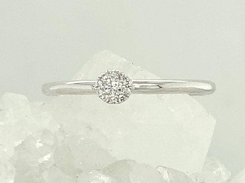 Diamond & 14K White Gold Flower Stacking Ring