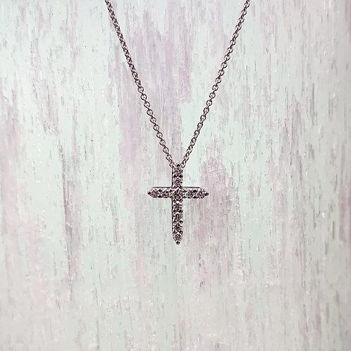 Diamond & 14K White Gold Cross Pendant Necklace