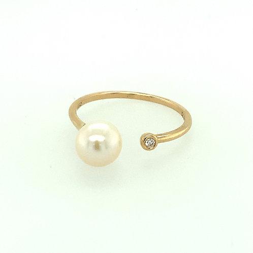 Pearl & Diamond 14K Yellow Gold Open Ring