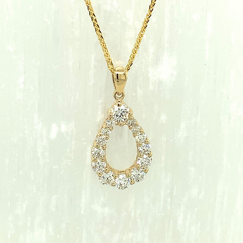 Diamond & 14K Yellow Gold Pear Shape Pendant Necklace