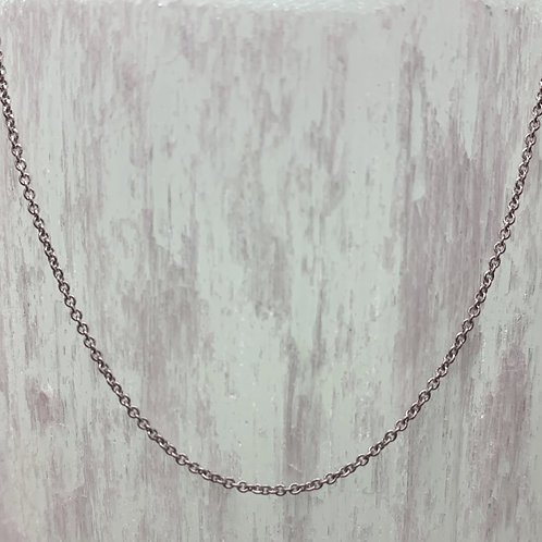 14K White Gold Cable Chain - Adjustable