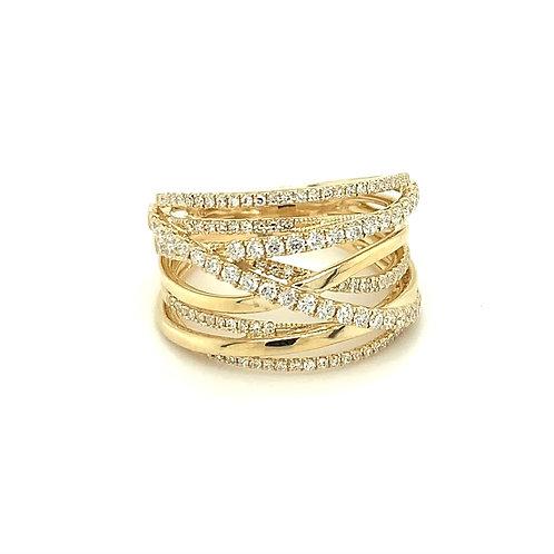 Diamond & 14K Yellow Gold Bridge Ring