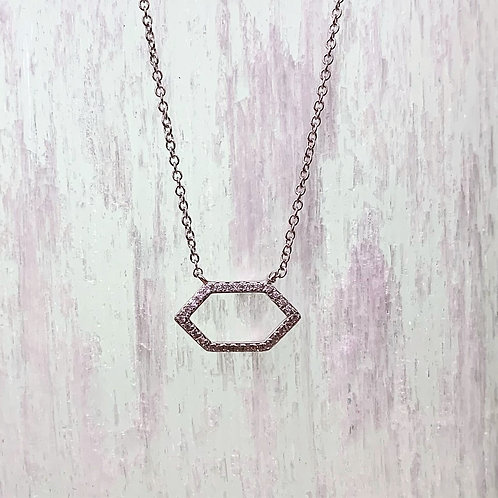 Diamond Hexagon Pendant Necklace
