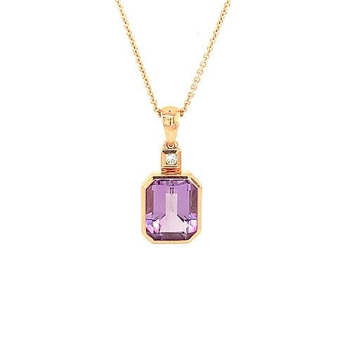 Lavender Amethyst, Diamond, & 14K Rose Gold Pendant Necklace
