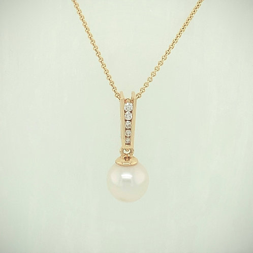 Pearl, Diamond & 14K Yellow Gold Pendant Necklace