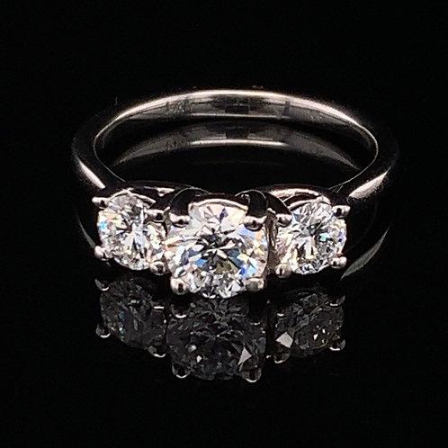 14K White Gold & Three-Stone Diamond Engagement Ring