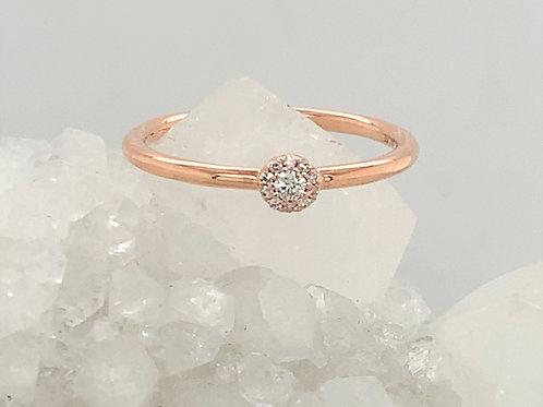 Diamond & 14K Rose Gold Flower Stacking Ring