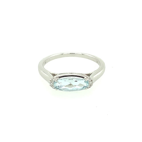 Aquamarine, Diamond & 14K White Gold Ring