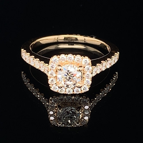 14K Yellow Gold Diamond Engagement Ring with Square Halo