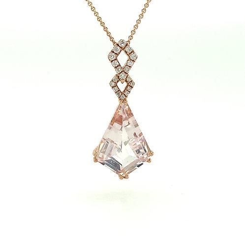 Morganite, Diamond & 14K Rose Gold Pendant Necklace