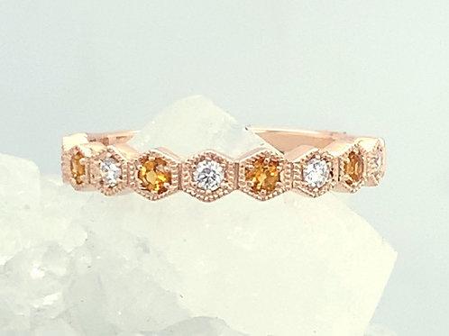 Diamond & Citrine 14K Rose Gold Ring
