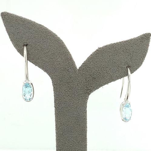 Aquamarine, Diamond & 14K White Gold Earrings