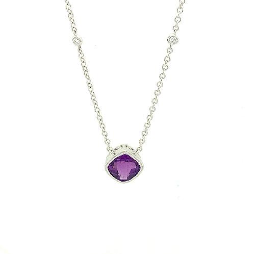Amethyst, Diamond & 14K White Gold Pendant Necklace
