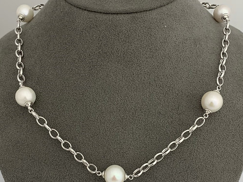Freshwater Cultured Pearl & Sterling Silver Station Necklace