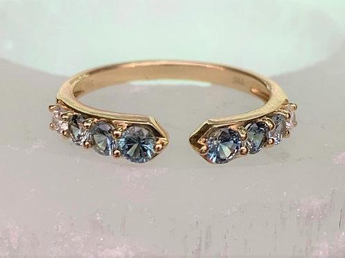 Montana Sapphire & Diamond Open-Shank Ring