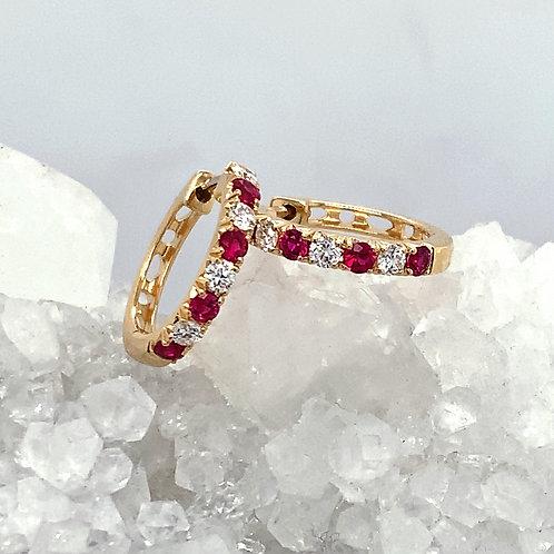 Ruby, Diamond & 18K Yellow Gold Hinged Hoop Earrings
