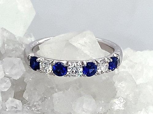 Sapphire, Diamond & 18K White Gold Ring