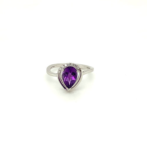 Amethyst, Diamond & 14K White Gold Ring